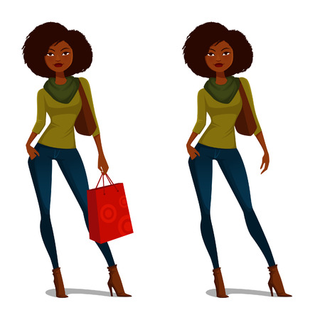 African American girl with natural hair in casual autumn outfit Vettoriali