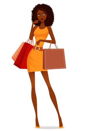 amerikalılar: güzel Afro-Amerikan kadın alışveriş Çizim