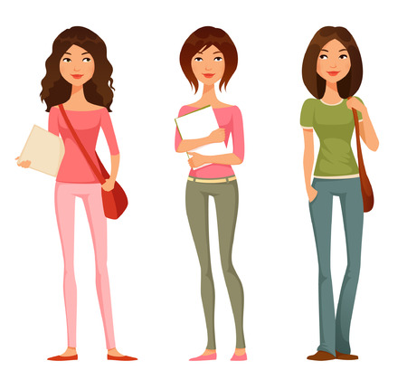 college students: cute cartoon illustration of teen or tween student girls