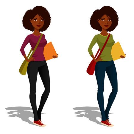 캐주얼 복장에 귀여운 아프리카 계 미국인 학생 소녀 일러스트