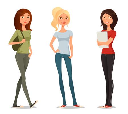 adolescentes estudiando: ejemplo lindo del dibujo animado de las ni�as o los estudiantes adolescentes Vectores