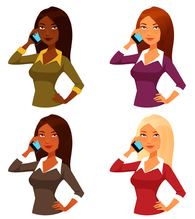 casual people: cartoon girls with mobile phone
