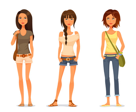cute teenage girls in spring or summer fashion clothes Ilustração