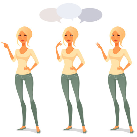 femme mignon de bande dessinée dans des vêtements décontractés dans diverses poses