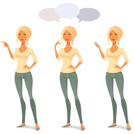mujer pensando: mujer linda de la historieta en ropa casual en varias poses Vectores