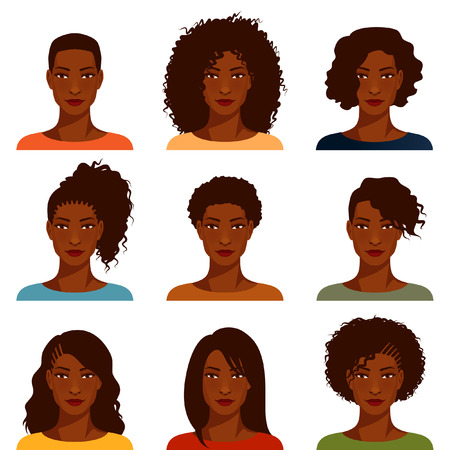 african woman face: giovani donne con diverse acconciature