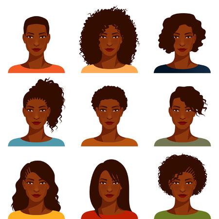 preto: mulheres jovens com vários penteados