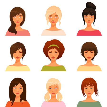 様々 な髪のスタイルを持つ美しい若い女の子の可愛いイラスト  イラスト・ベクター素材