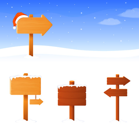 north pole sign: simple winter theme banner with a wooden sign board Illustration