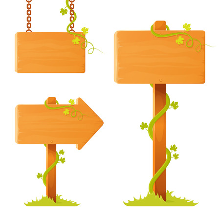 tendrils: set of illustrations of blank wooden sign board with decorative tendrils and grass