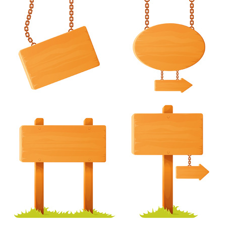set of illustrations of variously shaped wooden sign board