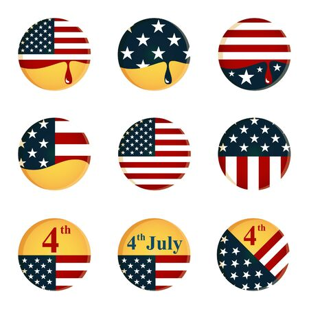 vector button: collection of buttons with American flag and 4th of July Independence day theme