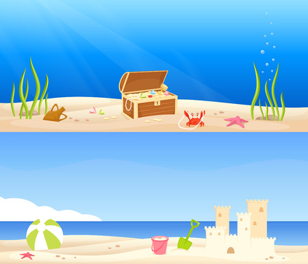 sunny beach: cute seaside banners Illustration