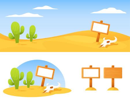 desert scenes: American desert with cactus bison skull and blank wooden board