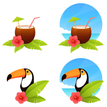 fruit drink: summer illustrations with a coconut drink and toucan bird