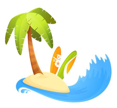 deportes caricatura: tablas de surf de colores en la isla tropical