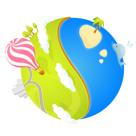 green cute: cute small planet with ocean and green landscape Illustration