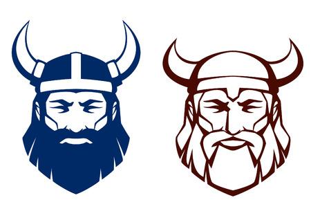 lijn illustratie van een oude viking warrior Stock Illustratie