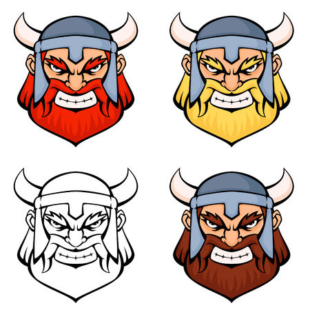 set of simple line illustrations of an angry viking warrior