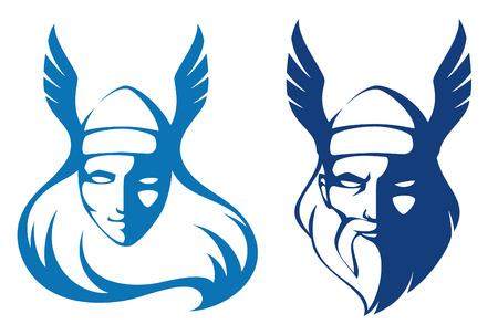 vikingo: ilustraciones línea de personajes de la mitología escandinava