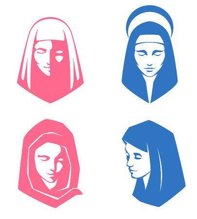 Reihe von einfachen Illustrationen von geistlichen Frauen Vektorgrafik