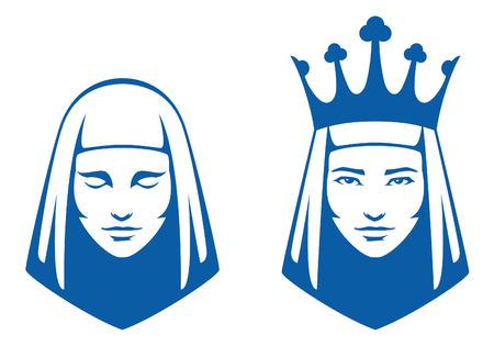 corona de reina: ilustraciones de l�neas simples de una mujer con los ojos cerrados y una reina