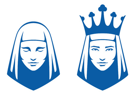 medieval woman: simple line illustrations of a woman with closed eyes and a queen