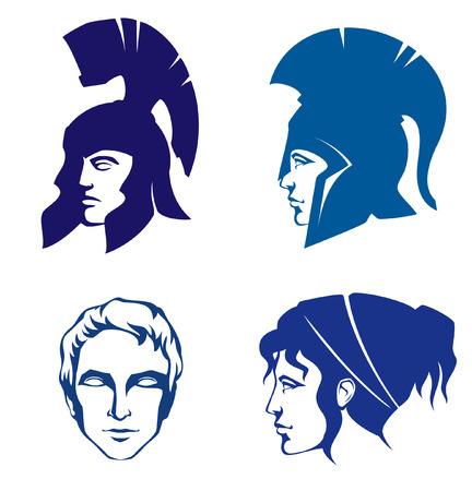 cascos romanos: ilustraciones de la gente de la antigua Grecia o Roma