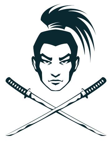 eenvoudige lijn illustratie van een samurai krijger en kruisten katana zwaarden Vector Illustratie