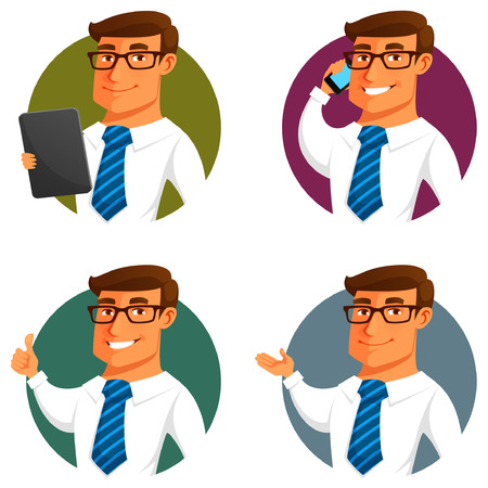 funny cartoon businessman in various poses