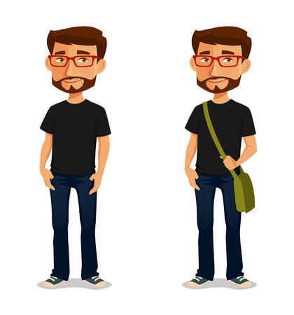 friendly cartoon guy with glasses