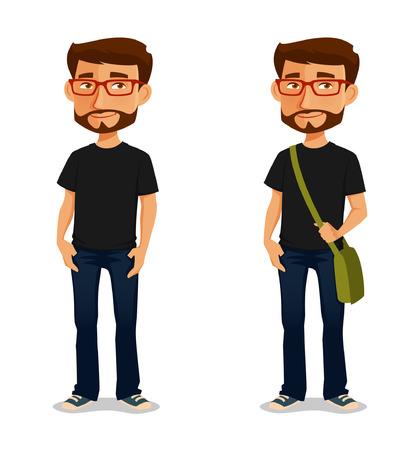 estudiante: chico agradable de dibujos animados con gafas