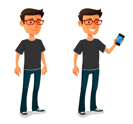 funny cartoon guy with mobile phone