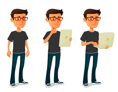 chico de dibujos animados con la tableta y portátil