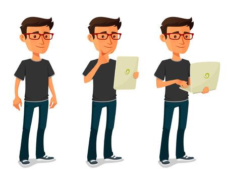 beau mec: gars de bande dessinée avec la tablette et ordinateur portable