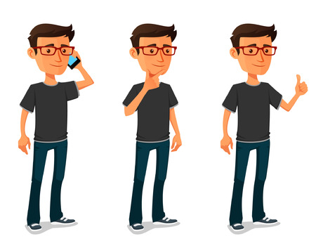 boy with glasses: funny cartoon guy in various poses