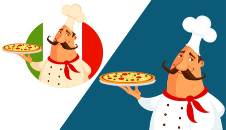 italian pizza: funny cartoon illustration of an Italian pizza chef