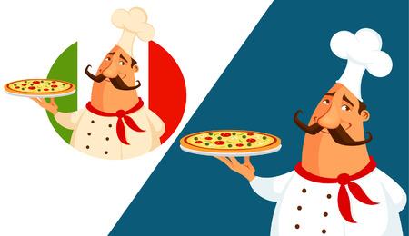 restaurante italiano: ilustración de dibujos animados divertido de un chef de pizza italiana