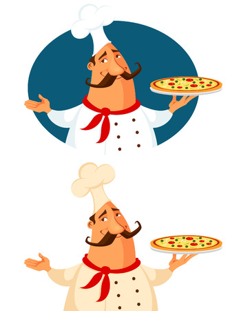 funny cartoon illustration of a pizza chef Vectores