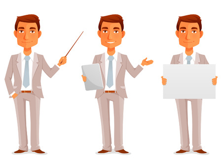 obrero caricatura: ilustración de dibujos animados de un joven apuesto hombre de negocios en varias poses