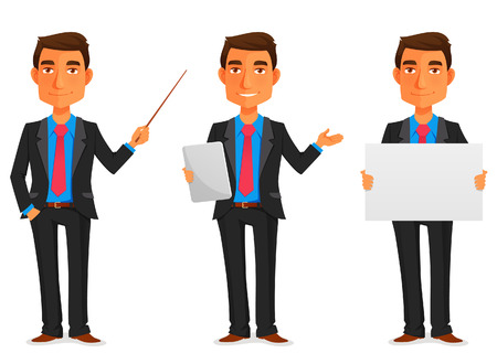 cartoon illustration of a handsome young businessman in various poses Stok Fotoğraf - 41708914