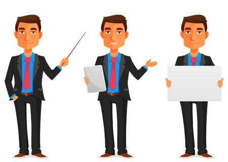 hombres ejecutivos: ilustración de dibujos animados de un joven apuesto hombre de negocios en varias poses
