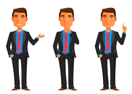toma de decisiones: ilustración de dibujos animados de un joven apuesto hombre de negocios en varias poses