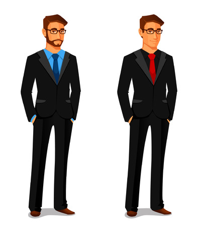 cartoon character: elegant young man in business suit
