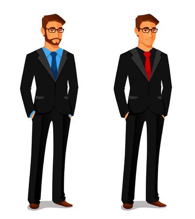 personnage: �l�gant jeune homme en costume d'affaires Illustration