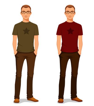 眼鏡のカジュアルな服でハンサムな若い男  イラスト・ベクター素材