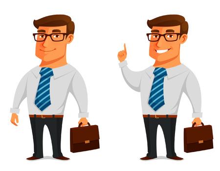 hombre caricatura: hombre de negocios divertido de la historieta con la cartera