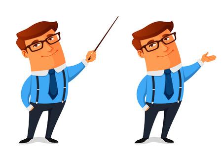 personaje: hombre de negocios de dibujos animados divertido presentar o mostrando algo