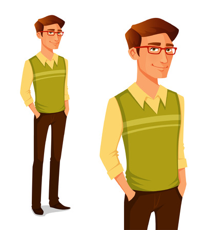 young men: cartoon illustration of a young guy in hipster fashion