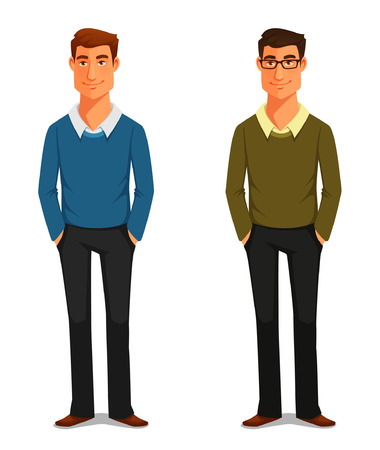 cartoon illustration of a friendly young man in casual clothes Vectores